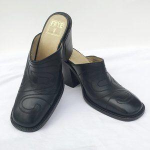 FRYE Conrad Black Leather Clogs Mules Size 10M